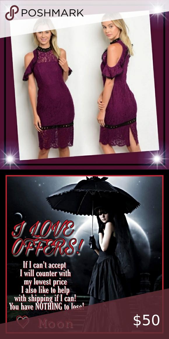 New! L' ATISTE Cold Shoulder Lace Dress Sz Sm
