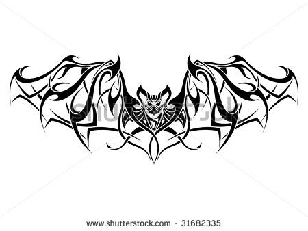 bat tribal tattoo design bats vampires and gothic horror pinterest chauve souris souris. Black Bedroom Furniture Sets. Home Design Ideas