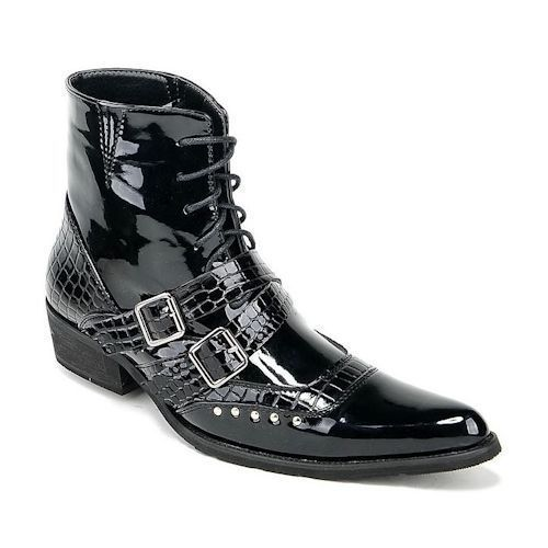 Black Fashion Boots Studded Punk Rock Sku Men Lace Gothic Up OuTPkXiZ