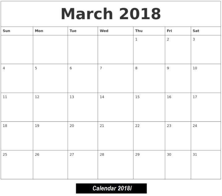 Blank Template March 2018 #Free #March2018 #calendario