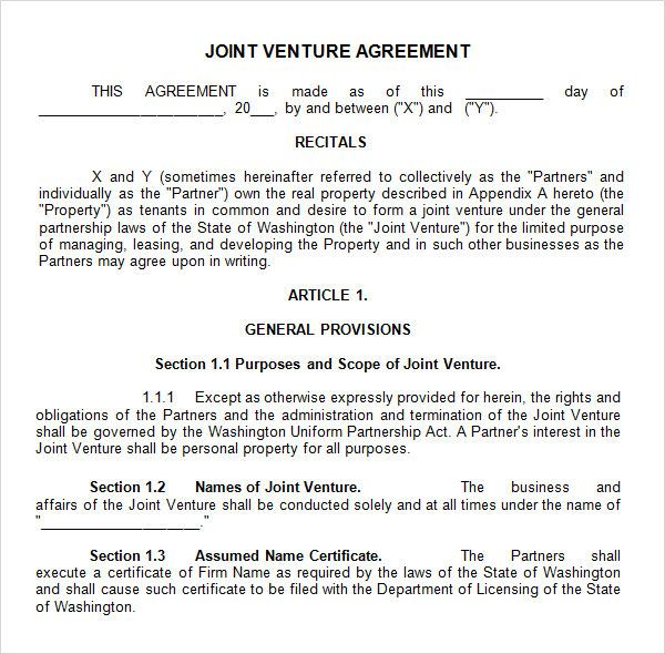Joint Venture Agreement Template Doc Template Pinterest Sample