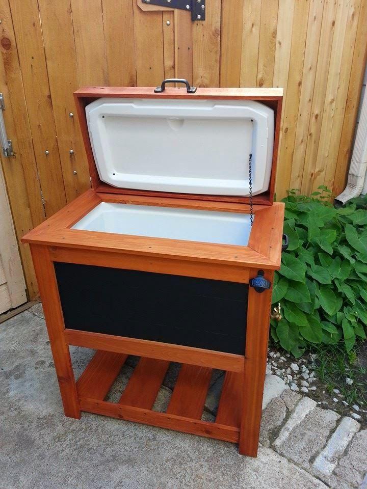 chalkboard cedar ice chest cooler with 70 quart coleman cooler inside