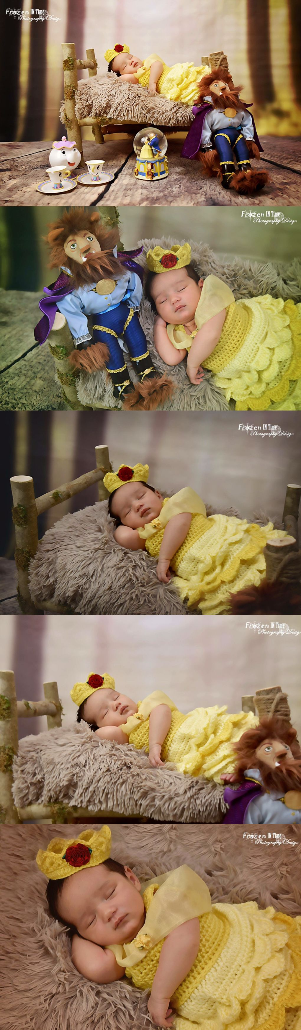 Disney inspired photoshoot beauty and the beast belle disney princess disney newborn shoot disney newborn photography baby disney baby belle photo