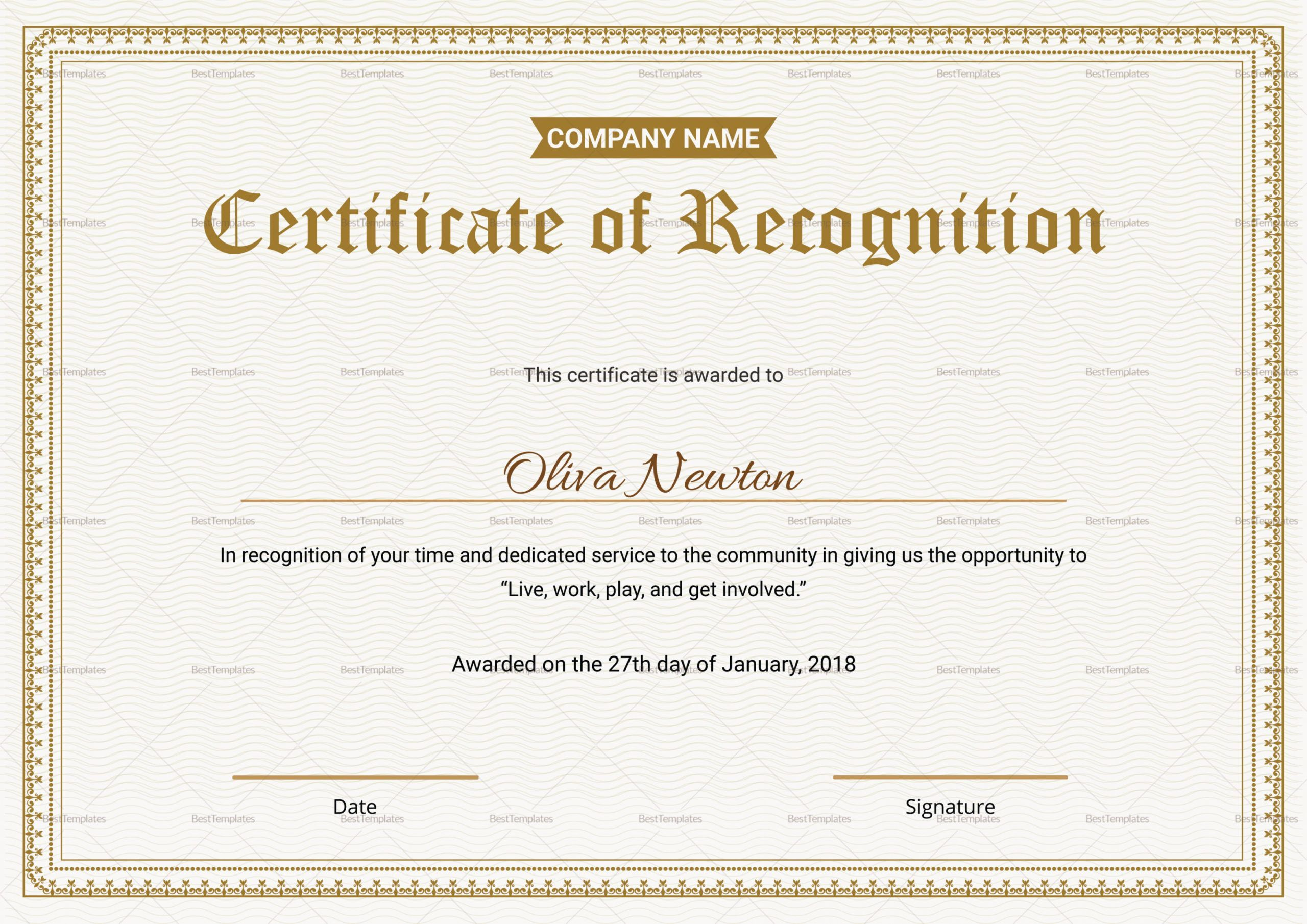 Get Our Free Employee Recognition Certificate Template Certificate Of Recognition Template Certificate Templates Word Template