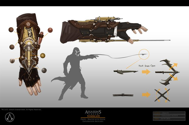 Hidden Blade Grappling Hook Assassins Creed Syndicate Assassins Creed Character Art