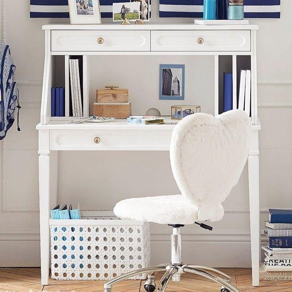 PB Teen Auburn Desk + Hutch Set, Water-Based Simply White ($639 ...