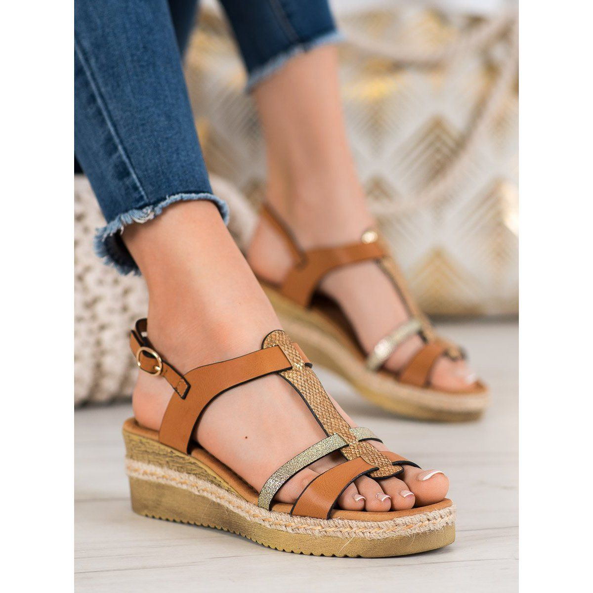 Small Swan Sandalki Na Koturnie Brazowe Zolte Sandals Beige Wedge Sandals Black Wedge Sandals