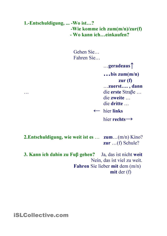 Nach Dem Weg Fragen Grammatica E Scuola