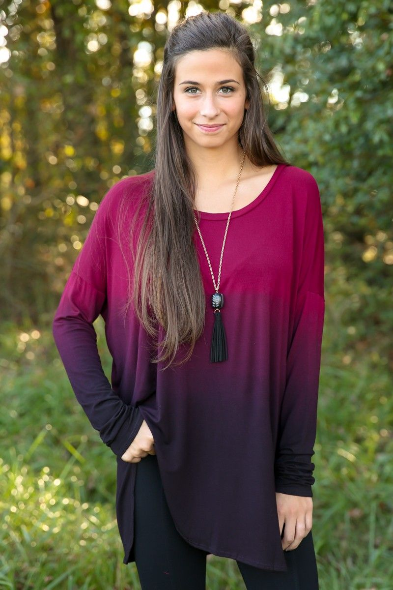 Fade Into Fall Top-Merlot - New Today   The Red Dress Boutique