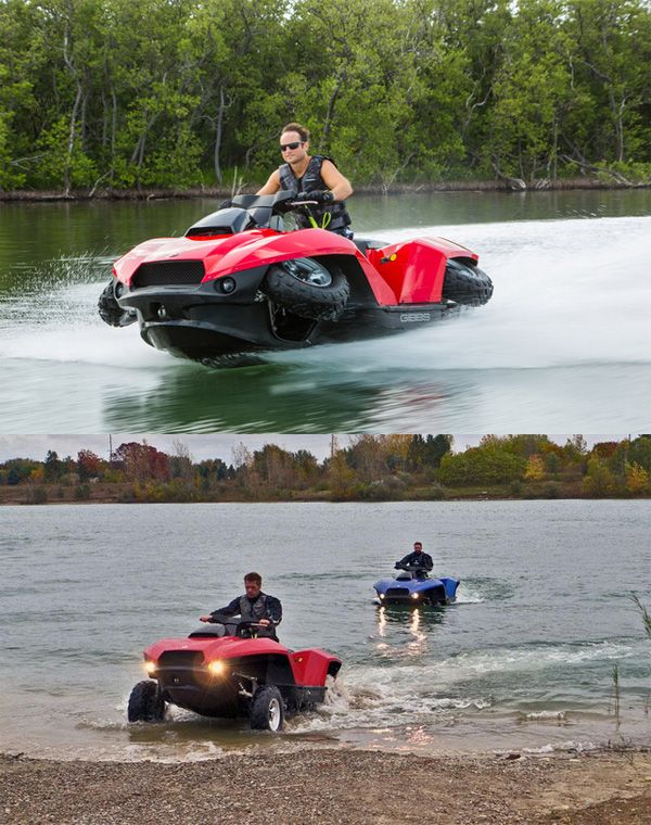 The Quadski is a four wheeler that transforms into a super fast