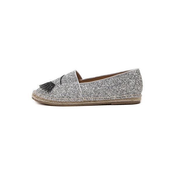 12c64c6b SheIn(sheinside) Silver Round Toe Applique Eye Slip-on Flats ($32) ❤ liked  on Polyvore featuring shoes, flats, silver, sparkly flat shoes, silver  glitter ...