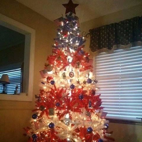 Christmas In July America Themed Tree For 4th Of July Holiday Christmas Tree Christmas Tree Patriotic Decorations