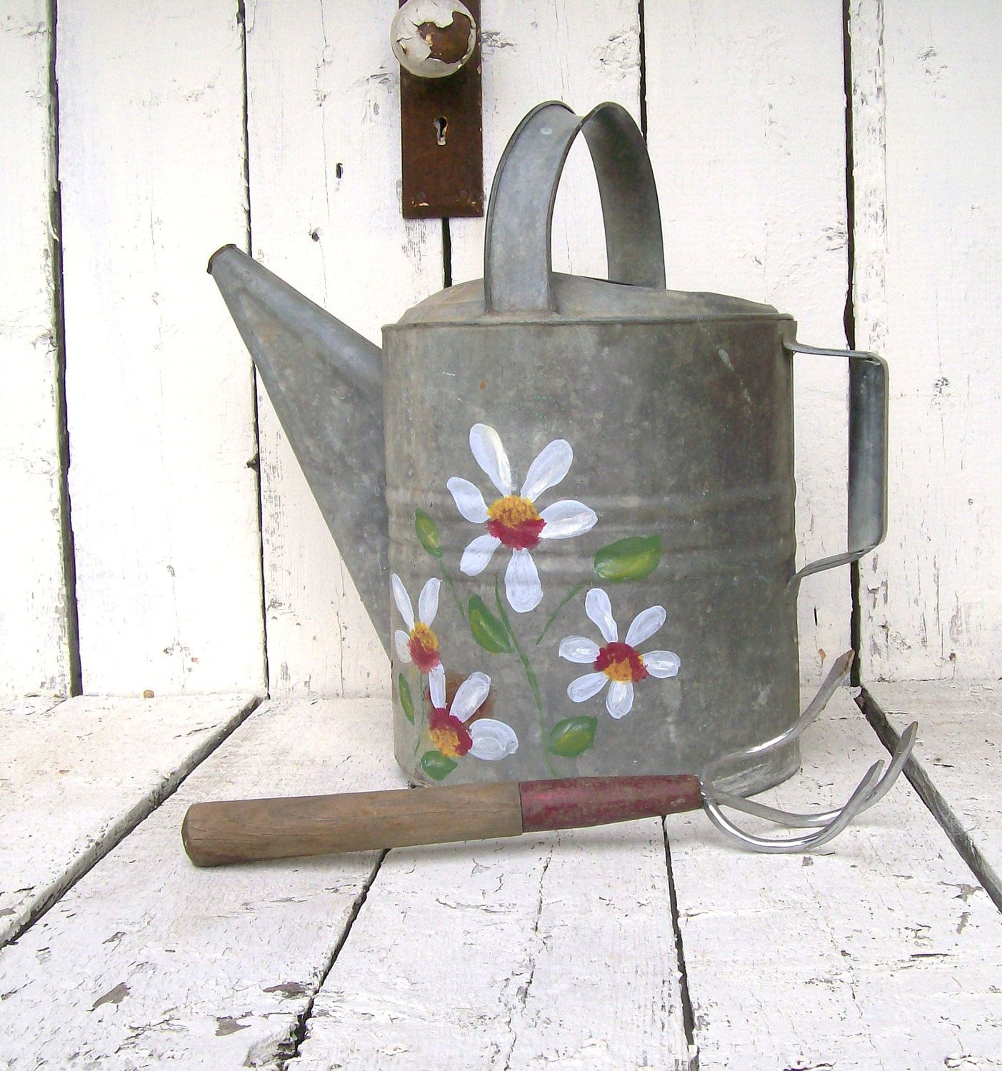 Galvanized Watering Can~ FLower Vase Farmhouse Prim...