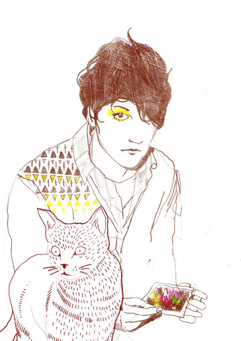 {cute boys with cats} a little sketch by Lea Woodpecker