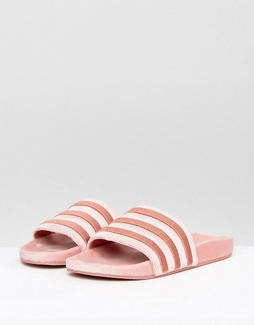 adidas Originals Velvet Vibes Slider Sandals In Raw Pink at asos.com