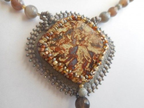 Jasper Pendant with Botswana Agate Necklace and Earrings