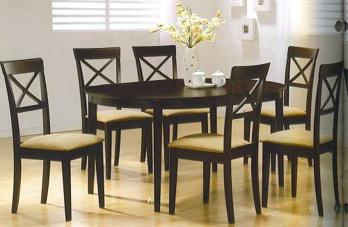 Kitchen Table W 6 Chairs Rich Cuppucino Finish New By Coaster