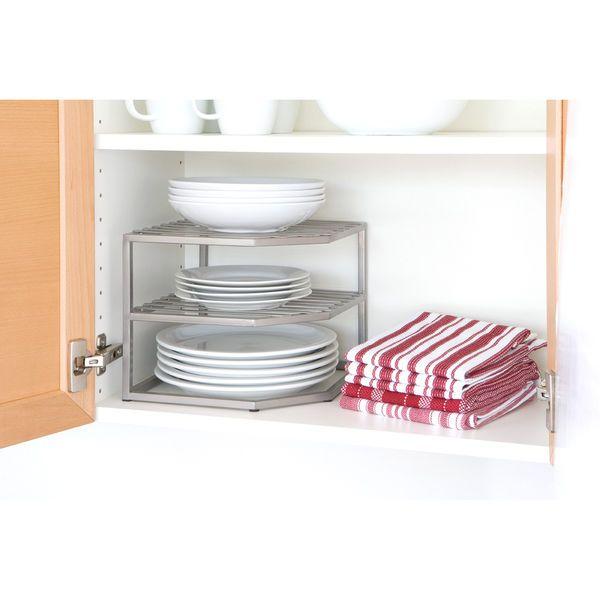Kitchen 2 Tier Plate Dish Organizer Corner Steel Shelf Counter