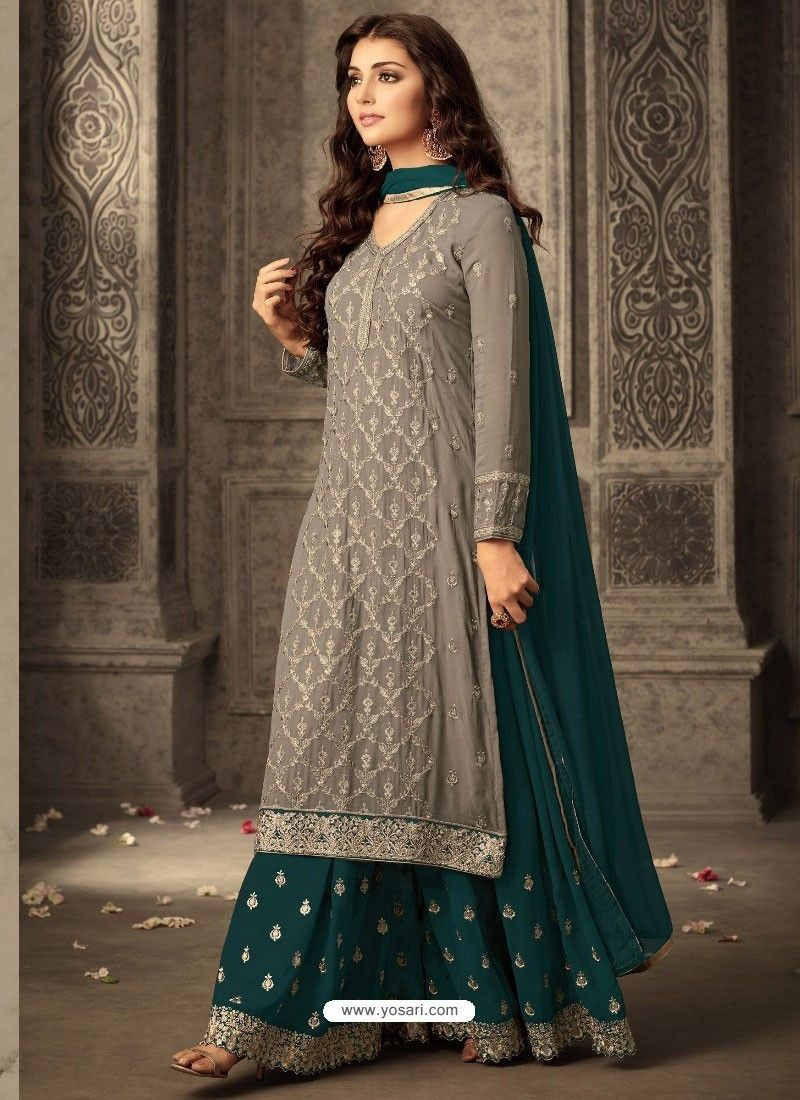 5995035b43 Exclusive Grey And Dark Green Georgette Embroidered Designer Palazzo Suit