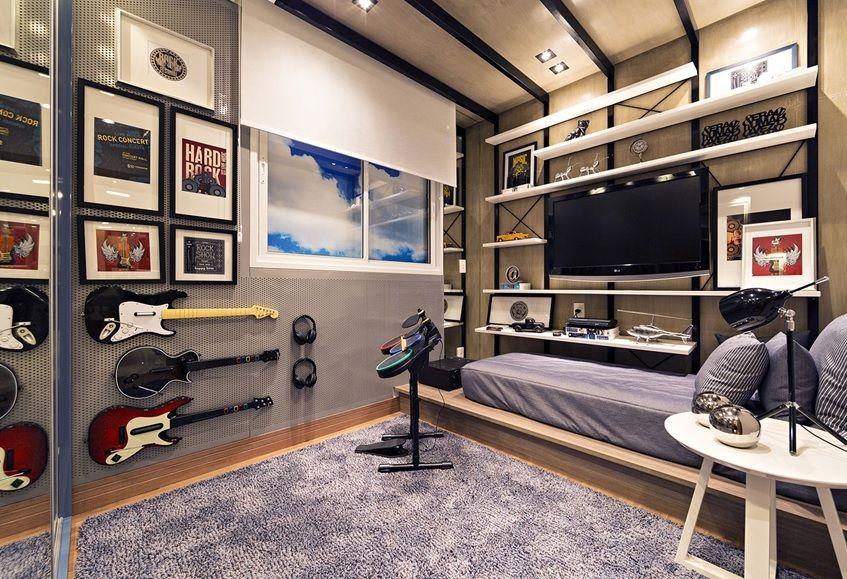 Dormitorio Gamer ~ guitar hero guitarra video game quarto de menino boy bedroom rock music band