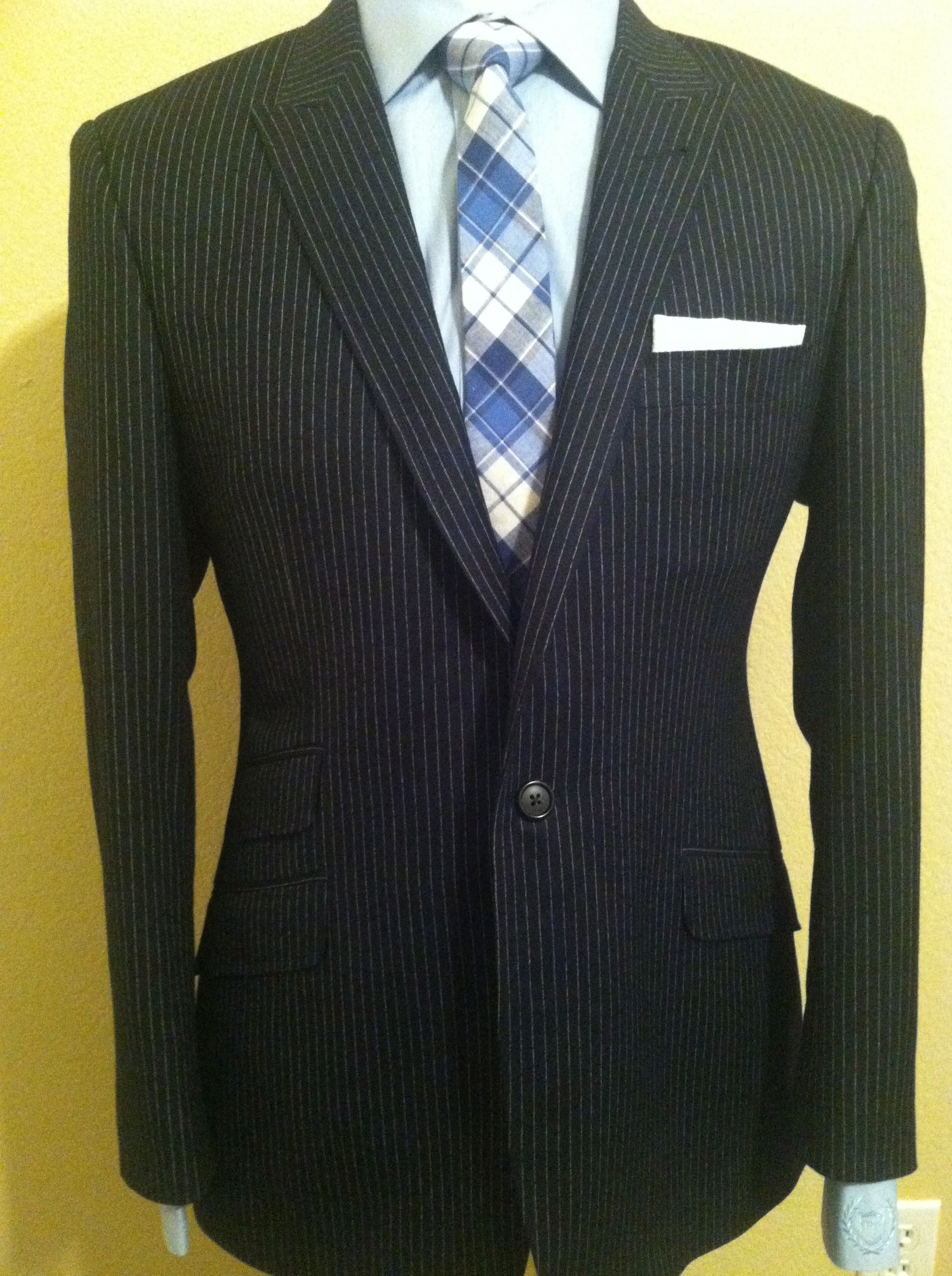 Pocket Square - Brown, blue and white plaid Notch