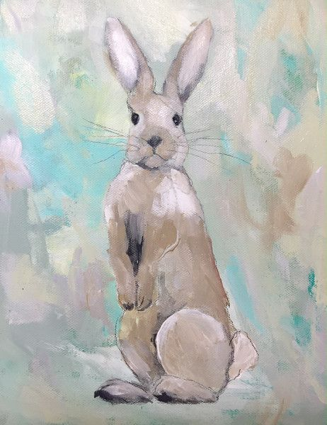 """""""Bunny's Up"""" by Katherine McClure. 8 x 10 inches. Acrylic on gallery wrapped canvas. $185. Part of our new theme """"Wild Things!"""""""