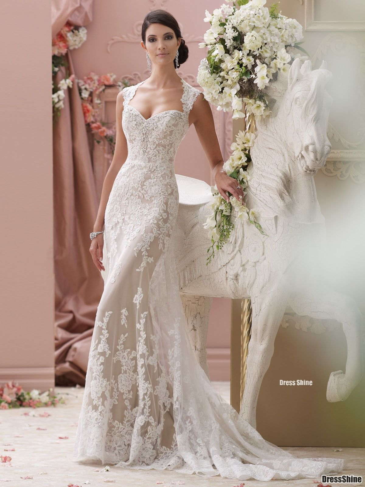 Lace cap sleeve a line wedding dress  I like this  lace appliqué and tulle over soft satin slim Aline