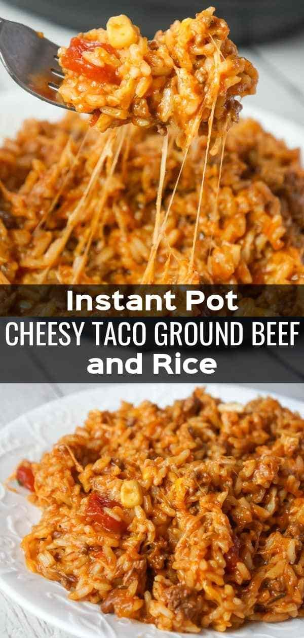 Instant Pot Cheesy Taco Ground Beef and Rice - Kiss Gluten Goodbye