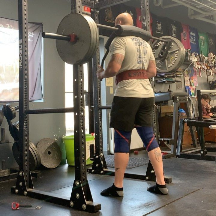 So really light Transformer bar squats in the front squat position. 315 5 sets of 6.      #Deadlifts...