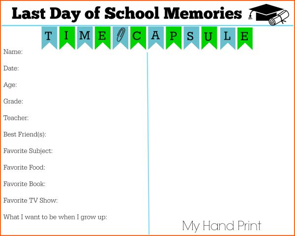 Use this free printable Last Day of School Memories page to capture - fresh free printable sunday school promotion certificates
