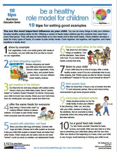 Be a healthy role model for children! MyPlate offers 10