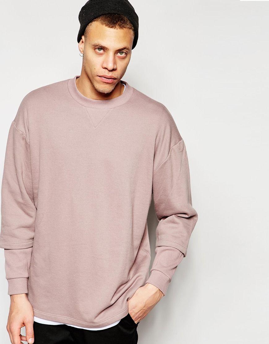 Image 1 of ASOS Longline Oversized Sweatshirt With Double Layer Rib Sleeve