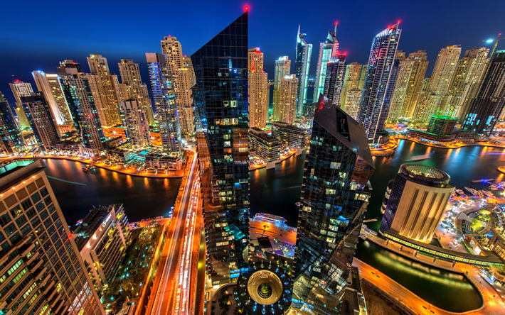 Descargar Fondos De Pantalla Dubai, Noche, Rascacielos