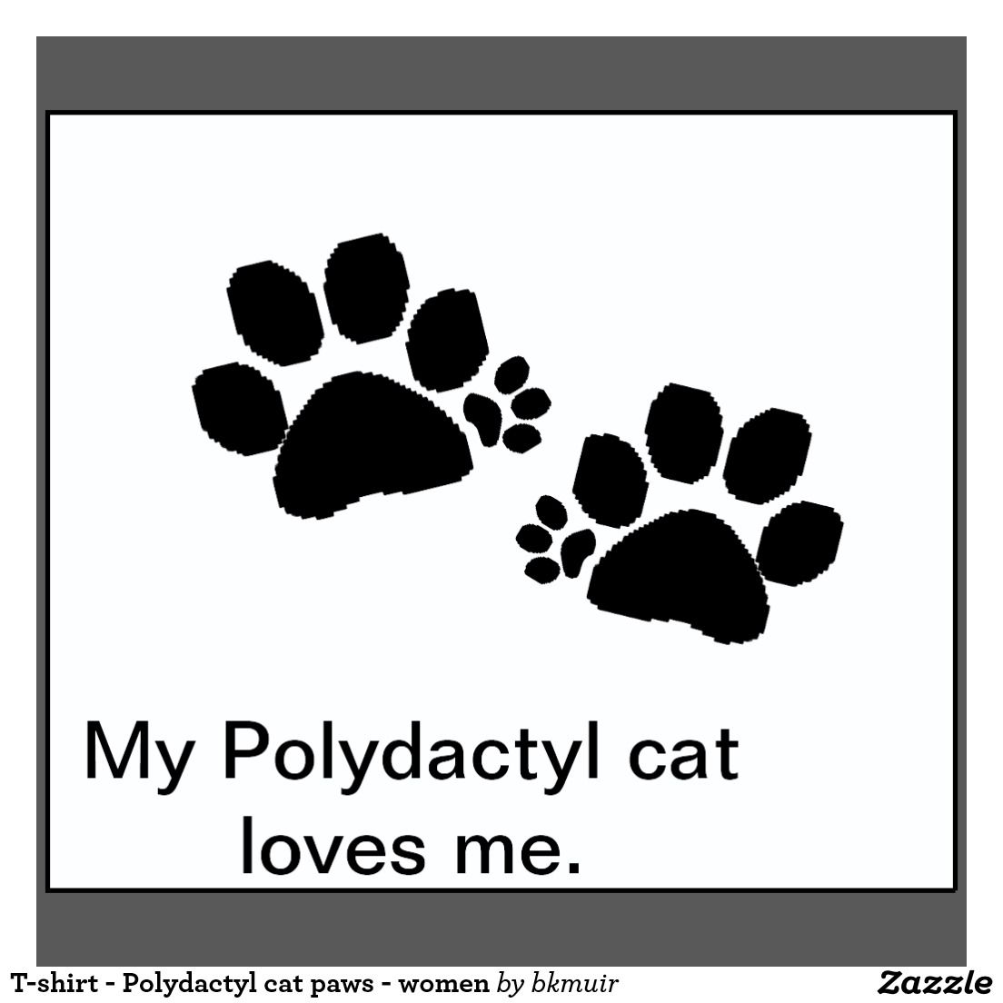 Paw Print Toe Tattoo: T-shirt - Polydactyl Cat Paws - Women