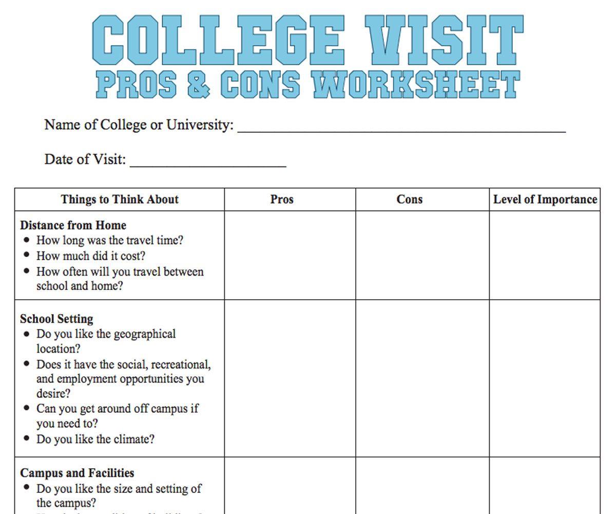 College Visit Checklist Worksheet Online college degrees