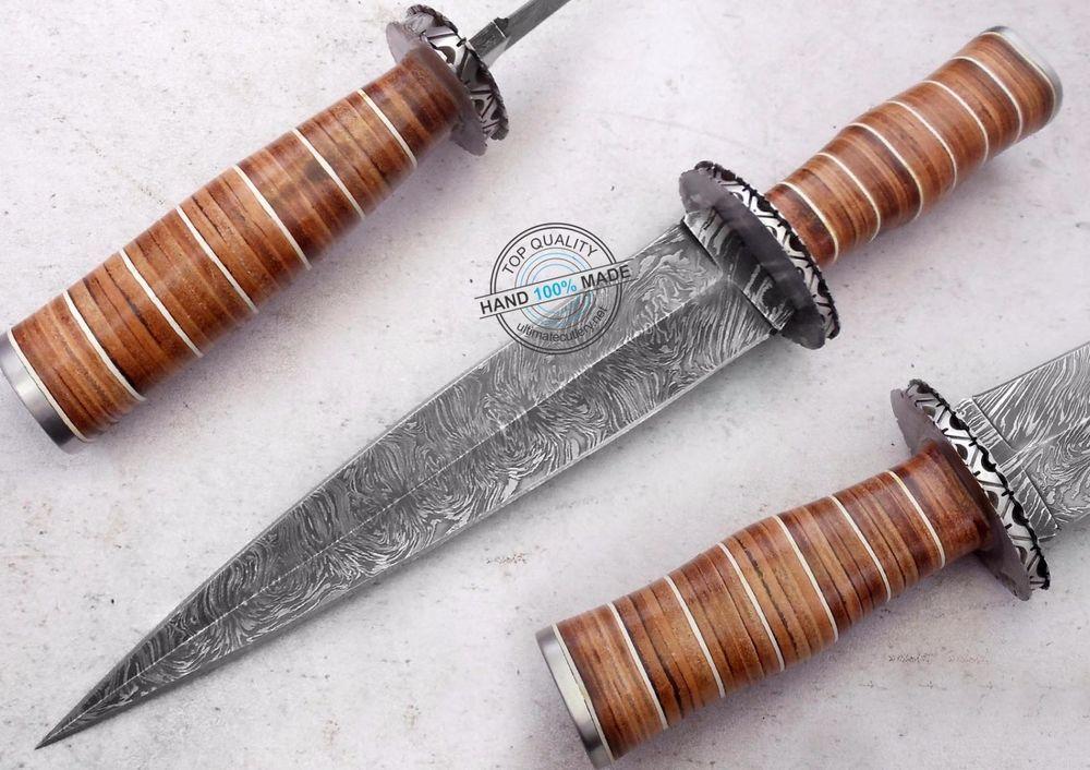 "14.40"" Custom Hand Beautiful Damascus Steel Swiss dagger Knife (AA-0396-3) #UltimateWarrior"