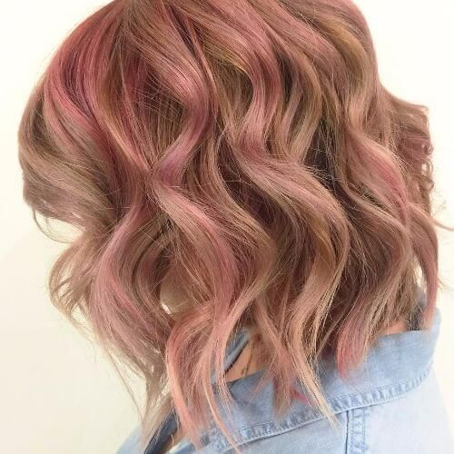 Lob Haircut With Pink Highlights Strawberry Blonde Hair Strawberry Blonde Strawberry Blonde Hair Color