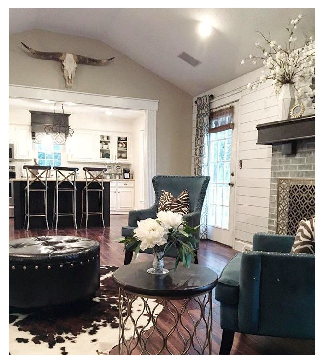 Pin By Kayla Saffell On Home Decor Cowhide Rug Living Room Farm House Living Room Rugs In Living Room
