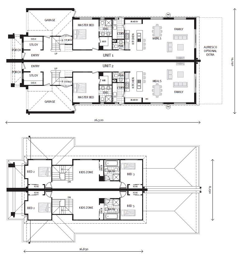 Aurora 214 Dual Occupancy Home Designs In Victoria Dual Occupancy Duplex House Design Architectural Floor Plans
