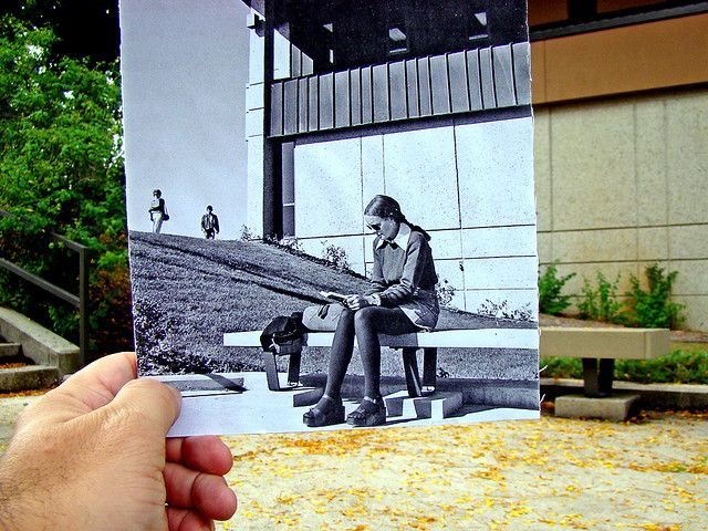 Sitting on a bench now/then by uwgb admissions, via Flickr