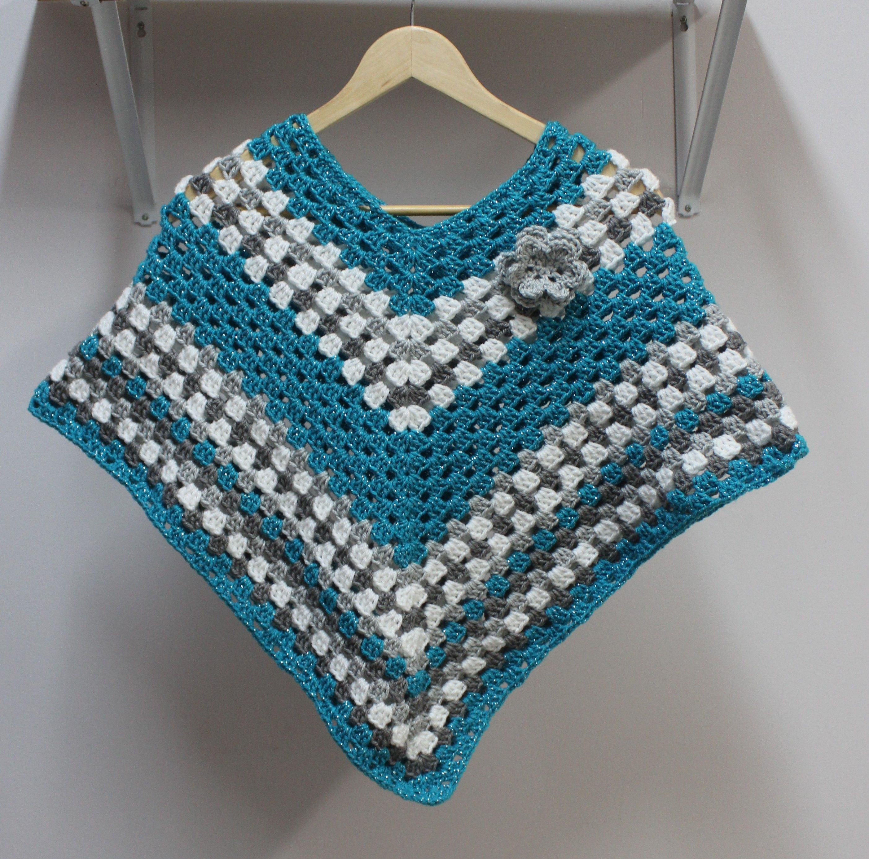 Crochet Pattern - Girls Poncho with Flower -