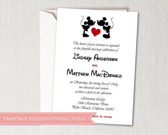 Wedding Invitations Disney: Disney Fairytale Wedding Mickey & Minnie By