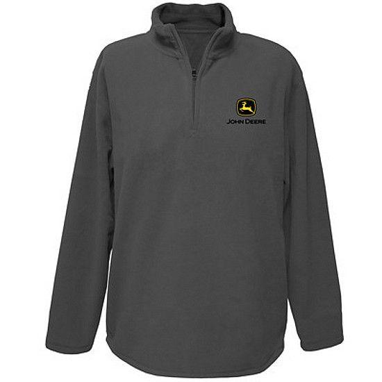 4f756b6624f6 Men's John Deere Fleece 1/4 Zip Pullover (Gray) - www.greentoysandmore.com