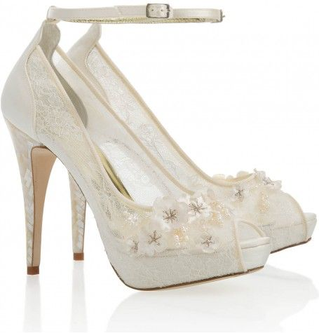 Lace Wedding Shoes With Mother Of Pearl Heel By Freya Rose