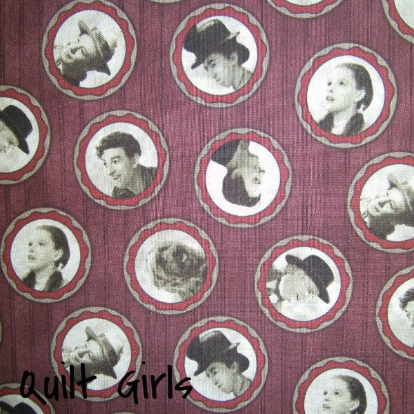 The Wizard of Oz Cameos on Maroon Fabric to sew