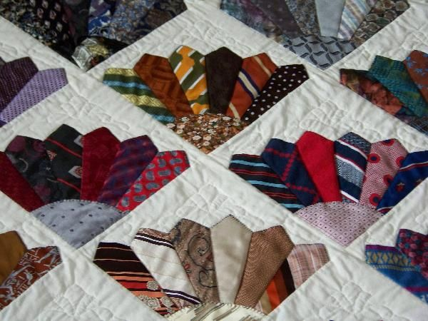 Close up of the Men's tie quilt.   Quilting~ I'd like to Make One ... : how to make a tie quilt - Adamdwight.com
