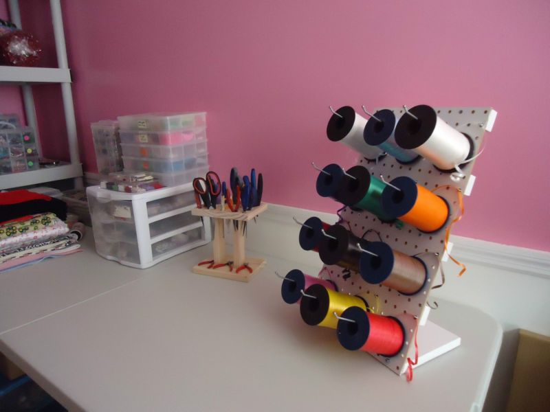 Great Diy Ribbon Rack From Pegboard To Keep With The Gift Wrapping Station Ribbon Storage Diy Organization Peg Board
