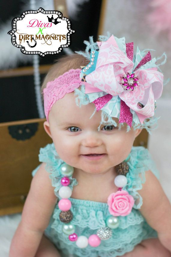 Over the Top Hair Bow with Matching Necklace Aqua Turquoise and Pink