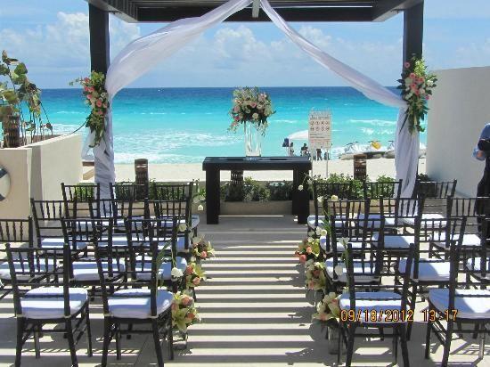 Gorgeous Turquoise Backdrop At Secrets The Vine Destination Wedding