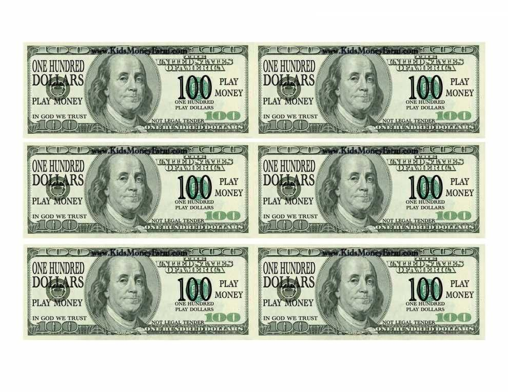 This is a photo of Eloquent Free Printable 100 Dollar Bill